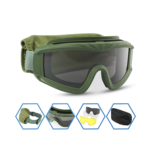 Airsoft Goggles, Tactical Safety Goggles Anti Fog Military Glasses with 3 Interchangeable Lens for Paintball Riding Shooting Hunting Cycling